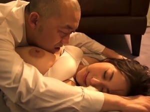Elegant Japanese babe enjoys a gang of cocks in the office