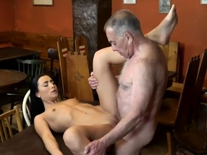 Old man kitchen and bald guy gangbang fucking Can you