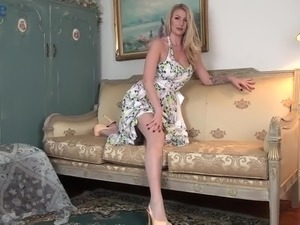 All alone light haired lady Danielle Maye thirsts for teasing her own moist slit