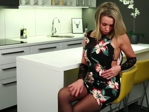 Slender housewife Queenie undresses to tease her wet pussy