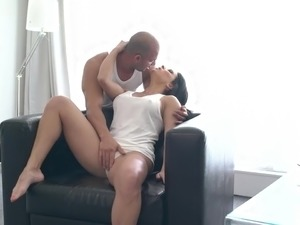 Sexy dark haired beauty Inna Innaki gets poked mish on leather sofa