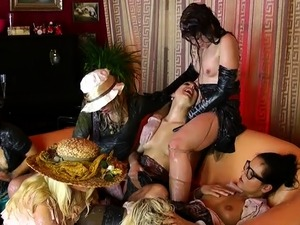 Tied up pornstar pisses on wang and gets fucked truly hard