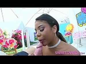 SWALLOWED Busty ebony babe Nia Nacci deepthroat blowjob