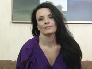 Bosomy dark haired MILF Stacy Ray is interested in petting her twat