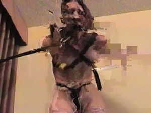 Sexy slavery scenery with whore getting belted and teased