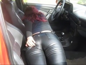 Redhead shows her leather
