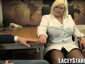 LACEYSTARR - Doctor GILF eats Pascal White cum after sex