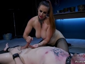 Huge tits domme torments dick to sub