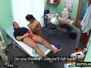 Brunette nurse hardcore with cumshot