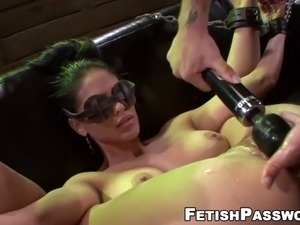 Innocent jasmine caro dominated with sex machine and big dic
