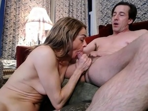Busty wife satisfies her man's anal urges and sucks his dick
