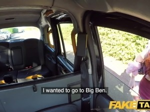 Fake Taxi Hairy redhead pussy gets fucked and cum splattered
