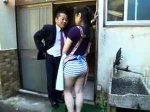Lustful Japanese wife with lovely tits gets double drilled