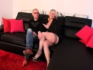 Sultry blonde milf in stockings takes a hard cock up her ass
