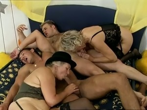 Insane group sex with three dudes and two grannies