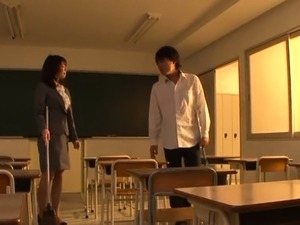 Hot looking japanese teacher gets stuffed with a large knob