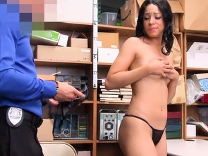 Busty ebony thief slut punish fucked on CCTV by a cop