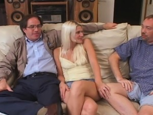 Skinny Blonde Housewife Fucked in Front of Hubby