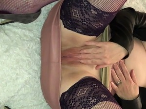 Shaven pussy rubbing clit