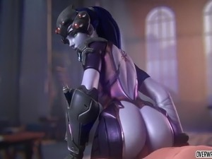 Sexy Widowmaker taking raw dick in her tight cunt