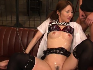 Japanese cutie sucks cock while getting fingered and toyed