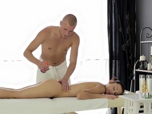 Naked Rebecca gets fucked in various poses