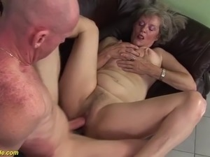 Hairy 76 years old granny first time big cock fucked