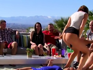 Married swinger couples having fun in a wild sexual DAY
