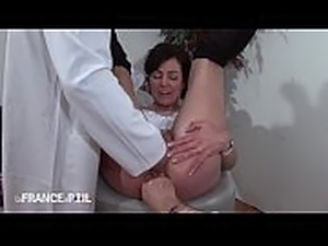 French mature gaped in gyno chair