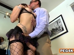 NASTY pervert female rims guy's ass BEFORE fucking it DEEP